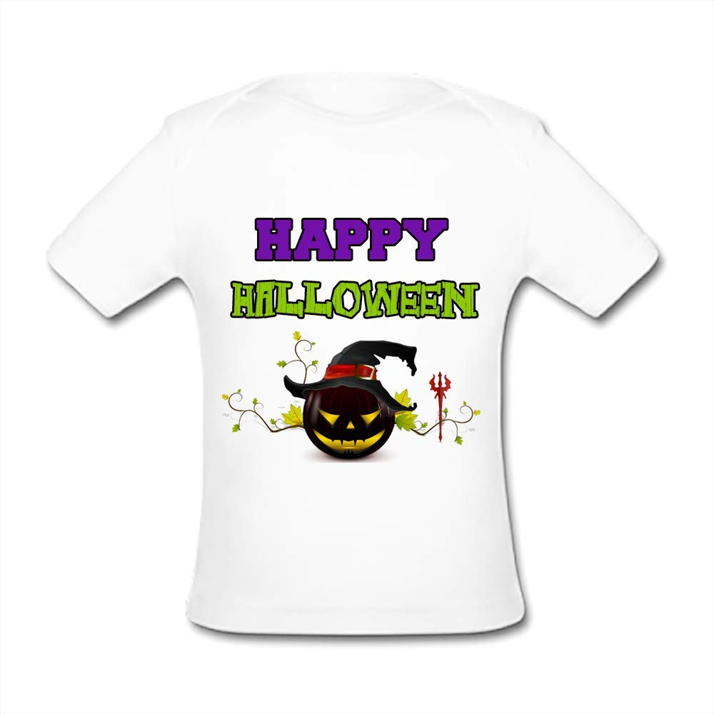 UlanLi Infant Tee Happy Halloween Baby Organic Short Sleeve T-Shirt White
