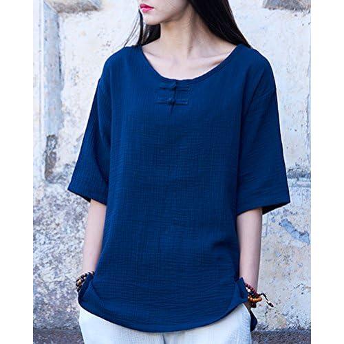 931e80fa6 best Soojun Women's Chinese Frog Button Cotton Linen Blouses Short Sleeve  Tops