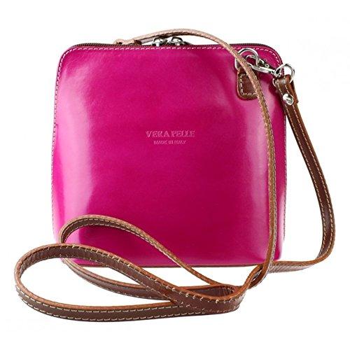 Leather Bag Vera Cross Pelle Body Shoulder Fuchsiadtan or Mini Italian Genuine Bag 657WqvAg