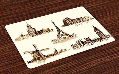 Ambesonne Ancient Place Mats Set of 4, European Landmark Traveller Tourist Cities Italy France Spain Sketchy Image, Washable Fabric Placemats for Dining Room Kitchen Table Decor, Brown and Cream by Ambesonne