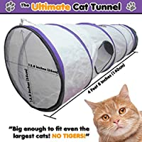 Ultimate Cat Tunnel - Innovative Collapsible Crinkle Crackle Chute Fun Run Toy! Fits ALL Cats! They'll LOVE it Guaranteed!