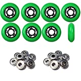 Player's Choice OUTDOOR Inline Skate Wheels 72MM 89a GREEN x8 W/ABEC 5 BEARINGS