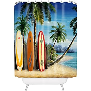 this item surfboards with palm trees on seaside polyester fabric bathroom shower curtain 6072inch