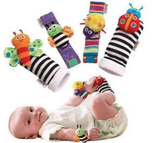 MOCHO AM 4 piezas New Born Baby Socks Muñeca Bandas Sonajero Rattling Sensorial Toy Infant Child MOCHOAM