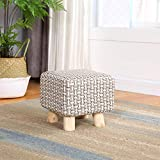 JiaQi Ottoman Bench,Creative Foot stools,Cloth Sofa Stool Adults and Kids Small Bench Solid Wood Change Shoe Bench-L 25x25x23cm(10x10x9inch)