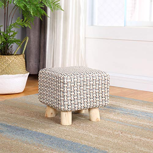 JiaQi Ottoman Bench,Creative Foot stools,Cloth Sofa Stool Adults and Kids Small Bench Solid Wood Change Shoe Bench-L 25x25x23cm(10x10x9inch) by JiaQi (Image #4)
