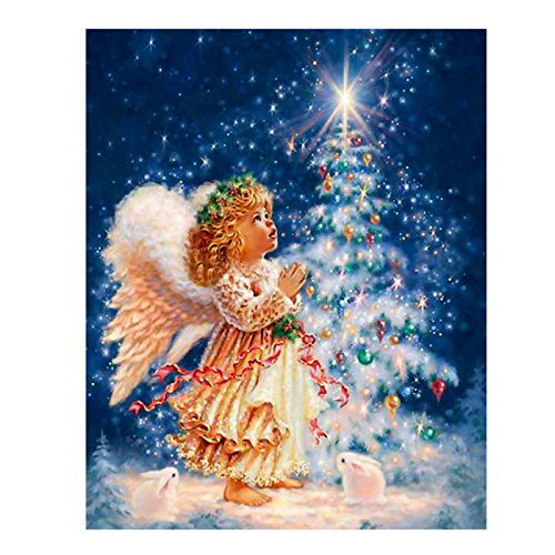 Boverley DIY 5D Diamond Painting Kit Rhinestone Embroidery Cross Stitch Arts Craft for Christmas Home Wall Décor, Angel