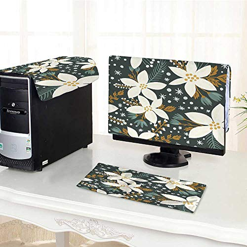 (Computer Three-Piece dust Cover Drawn Poinsettia Flowers Garden Blossoms Hawaiian Inspired Art Print White and Caramel Protect Your Computer /21