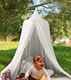 OldPAPA Kids Bed Canopy with Pom Pom Hanging