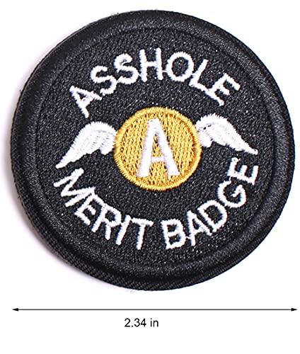 Asshole Merit Badge WZT Morale Patch, Funny Tactical Military Morale Patch Hook & Loop, Black