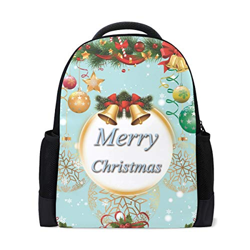 Christmas Bells Balls Holly Berry Fir Tree School Backpack for Boys Girls, College Student Bookbag Daypack for Business Travel