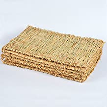 Woven Grass Mat for Rabbits Small Animals Natural Handmade Seagrass Mat Hamsters Hedgehog Guinea Pig Bunny Bed Crate Pad