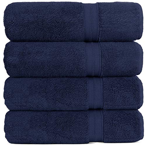 Luxury Premium Turkish Cotton 4-Piece Bath Towels, Long-Stable 20/2, 2 Ply Turkish Ring-Spun Cotton Yarn Makes The Luxe-Factor, Eco-Friendly, (Navy)