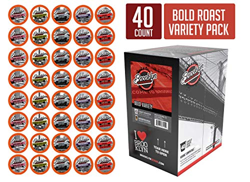 Roasting Cocoa Beans - Brooklyn Beans Bold Variety Pack Coffee Pods, Compatible with 2.0 K-Cup Brewers, 40 Count