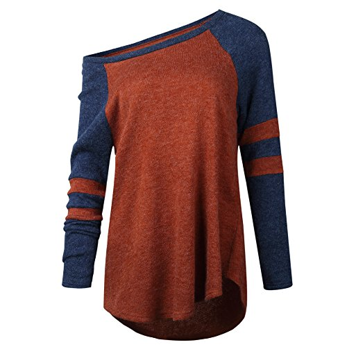 Amo&Co's Women Off Shoulder Loose Knit Sweater Top Long Sleeve Casual Pullover Knit (Orange, M)