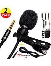 """QUANFUN Professional Lavalier Lapel Microphone Omnidirectional Mic with 79"""" Extension for iPhone Samsung Android Smartphone PC Camera, for YouTube, Interview, Video Recording - 1PACK / 2PACK"""
