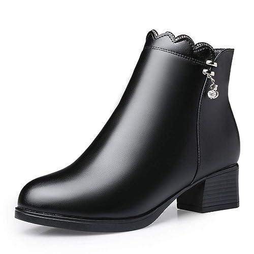 Invierno Cálido Forro Polar Botines para Mujeres Cuero Negro Chunky Block Heel Shoes Trabajo De Oficina