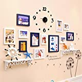 WillST Photo Frame Pictures Creative Dandelion Wall Photographs Living Room Wall Clocks Wall Mount Frame Combination , white and blue