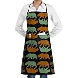 California Bear Cooking Kitchen Aprons With Pockets Bib Apron For Cooking, Baking, Crafting, Gardening, BBQ