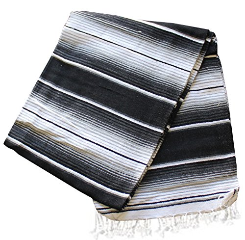 Del Mex (TM) X-large Mexican Serape Beach Blanket Two Tone Black Gray ()