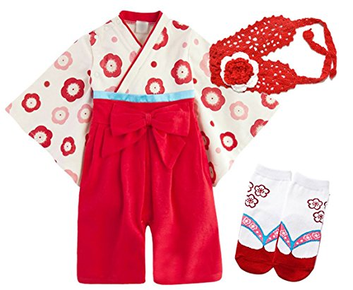 TOKYO-H Baby Japanese Cute Girls Kimono Robe Romper Infant Toddler Costume (9-18 Months, Red) (Best Haloween Costumes)