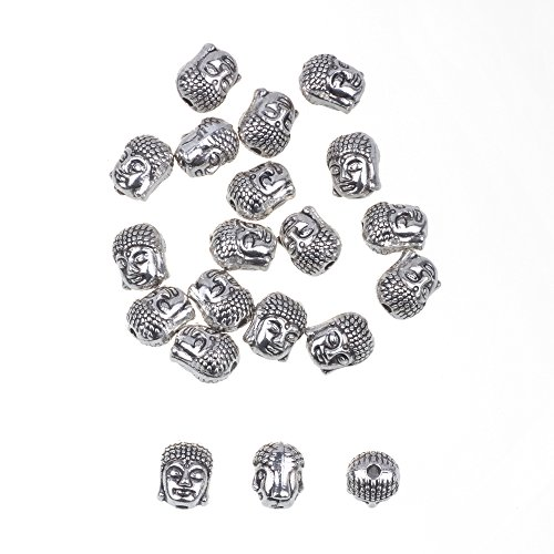 (RUBYCA 20PCS Buddha Small Spiritual Metal Beads Silver Color Spacer for Jewelry Making Bracelet)