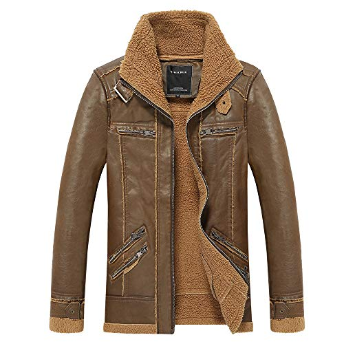 Nevera Men Winter Medium Length Retro Multi-Pocket Thickening Leather Jacket Coat on