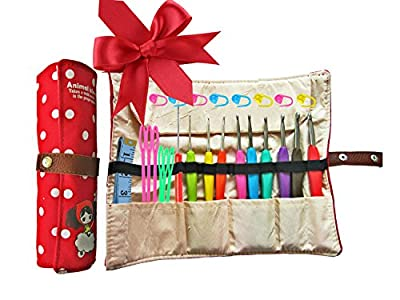 Ergonomic Crochet Hooks with Grips,Crochet Hook Case Organizer Roll Up,Crochet Kit,9pcs Comfort Grip Crochet Needles,Rubber Handle Crochet Hook Knitting Needle Set With Latch Hook&Measuring Tape from Crochet Hooks Grip