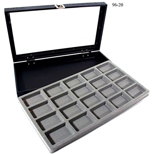(New Glass Top 20 Zippo Lighter Gray Collectors Display Case)