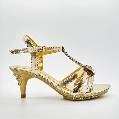 London Footwear ,  Mädchen T-Bar Hellgoldfarben