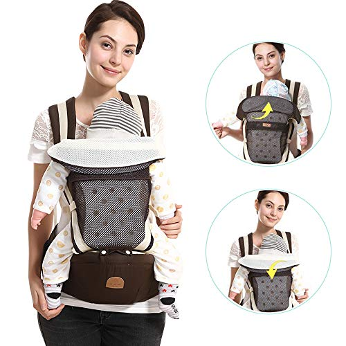 Baby Carrier Hip Seat Toddler 360 Ergonomic Breathable Soft Baby Backpack Carrier Seat Belt Waistband Hip Support with Pocket for Newborn, Infant & Toddler, All Season, Multi-Position (Brown)