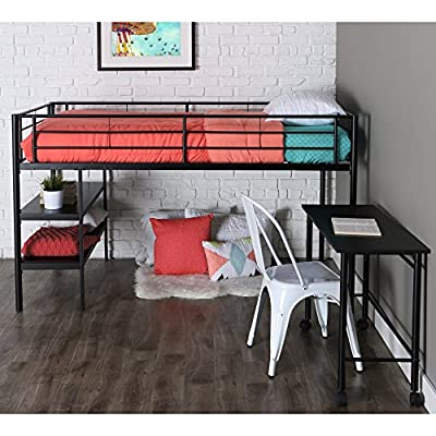 Twin Modern Metal Loft Bed with Desk and Shelves, Black Finish