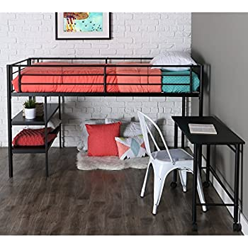 maryville dollhouse loft bed twin over full modern metal desk shelves black finish size dimensions queen plans