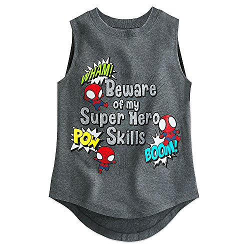 Marvel Spider-Man Cuties Tank Tee for Girls Size XL (14) Gray (Spiderman Clothes For Girls)