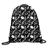 Trumpet Music Notes Treble Backpack Drawstring Bag School Travel Daypack Gym Bag