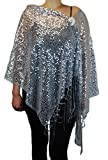 Womens Ladies Fashion All Over Beaded Sequins Evening Shawl Scarf With Rhinestone Brooch (Silver)