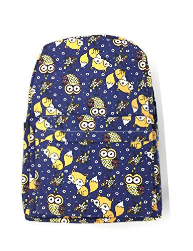 Cute Carton Print Schoolbag Backpack Daypack for Girls/Boys with Laptop/Pad Compartment (Navy Blue(fox and owl))