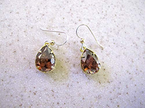 Faceted Smoked Topaz Stones Are Set in a Double Gold Tone Basket on Sterling Silver Earwires