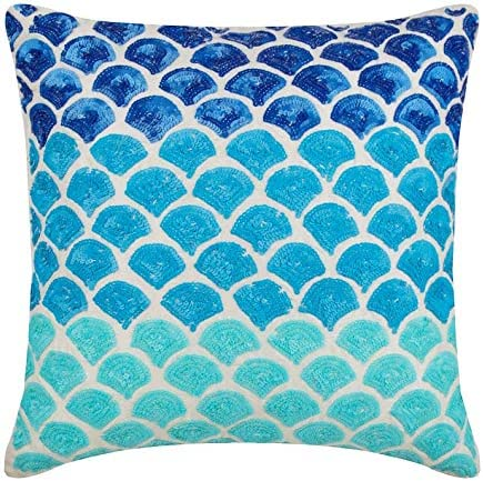 Designer Blue Euro Size Pillowcases 26×26 inch 65×65 cm , Silk European Shams, Ombre, Modern Euro Size Pillow Covers – Blessed with The Sea