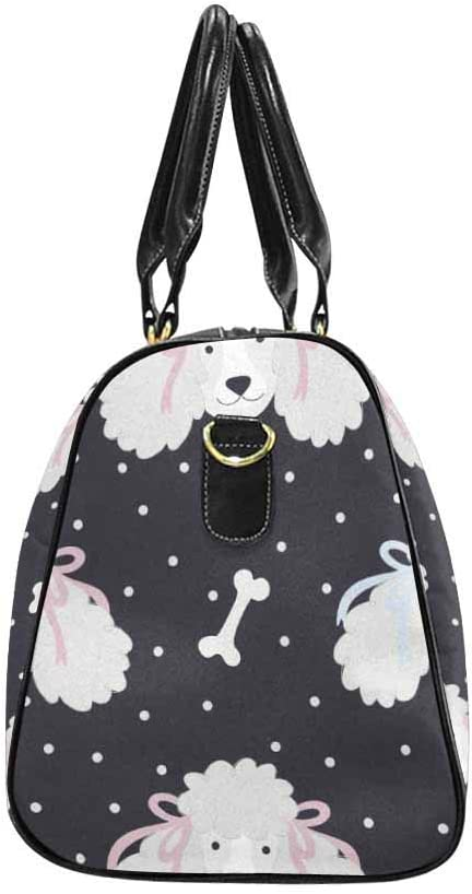InterestPrint Cute Poodles With Bones and Polka Dots Large Duffel Bag Flight Bag Gym Bag