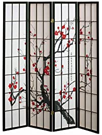 4 panel cherry blossom design room divider 4panel black