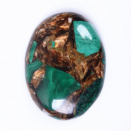 40x30mm Oval Cabochon CAB Flatback Semi-precious Gemstone Ring Face (Man Made Malachite & (Cabochon Gem)