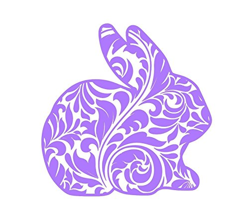 GLITTER Damask Easter Bunny Decal Sticker for Laptops Cars Yeti RTIC Ozark Coolers Tumblers or
