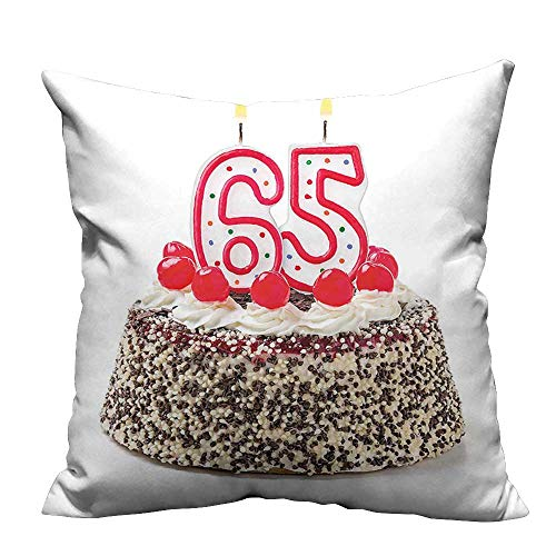 YouXianHome Lovely Cushion Covers Burning Candles Number Sixty Five on Delicious Cake with Cherries Resists Stains(Double-Sided Printing) 26x26 inch Cherry Blossom Cake Candle