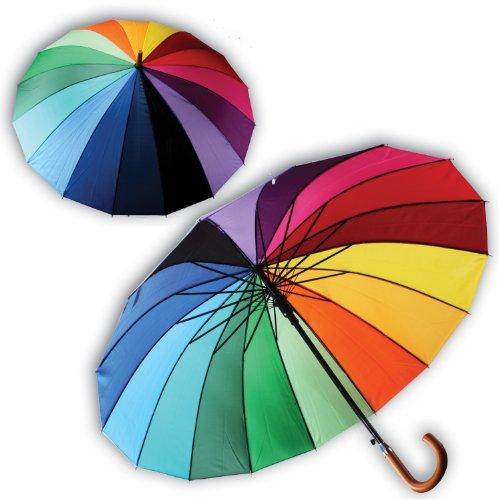 2 Stück XL Regenschirm BUNT Regenbogenschirm Schirm Partnerschirm Regenbogen 84cm Damen Partnerschirm 904071 Automatik