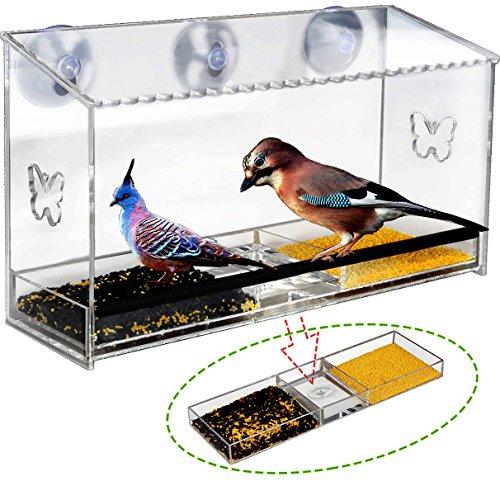 Large Window Bird Feeder, Homono Acrylic Clear See - Through