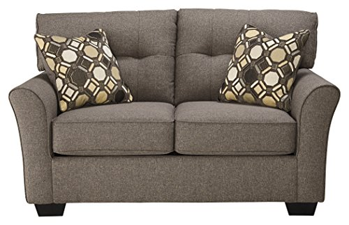 Ashley Furniture Signature Design – Tibbee Loveseat – Contemporary Couch – Sleek Tailored Sofa –  Slate