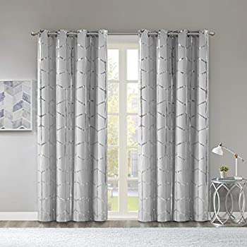 Madison Park Raina Total Blackout Metallic Print Grommet Top Window Curtain Panel Thermal Insulated Light Blocking Drape for Bedroom Living Room and Dorm, 50x84, Grey/Silver