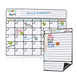 "BALFER Magnetic Dry Erase Calendar for Refrigerator, 2019-2020 Monthly Planner Whiteboard Organizing Calendar 16""x12"" & Family Kitchen to Do List 9""x6"""