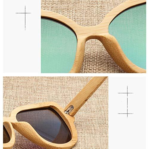 de Polarisées Lunettes Gray Mode soleil Lunettes Lunettes Femmes UV de de de Bambou Chat de Protection Bambou Yeux de Lunettes Bleu Soleil en Bois Style Couleur des w0ICq